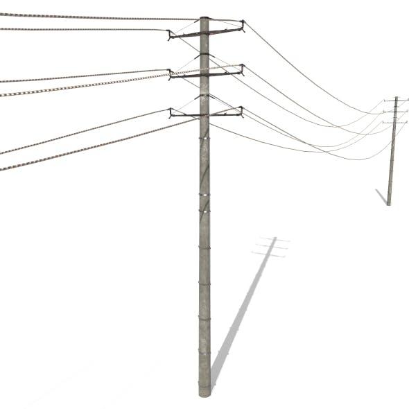 Electricity Pole 19 - 3DOcean Item for Sale