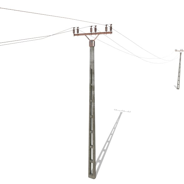 Electricity Pole 20 Weathered - 3DOcean Item for Sale
