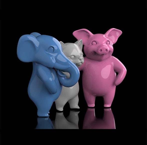 elephant pig cat - 3DOcean Item for Sale