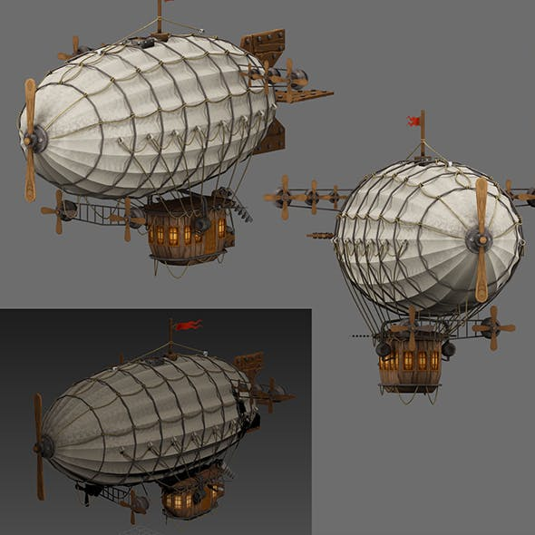airship Low-poly 3D model - 3DOcean Item for Sale