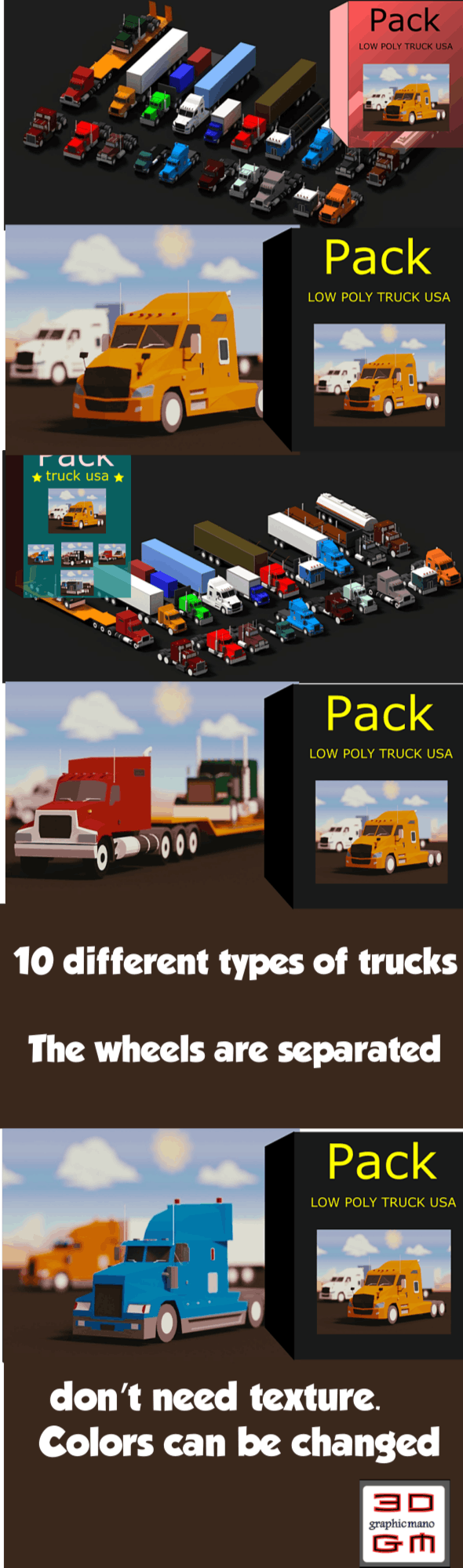 Low Poly Truck Usa Pack - 3DOcean Item for Sale