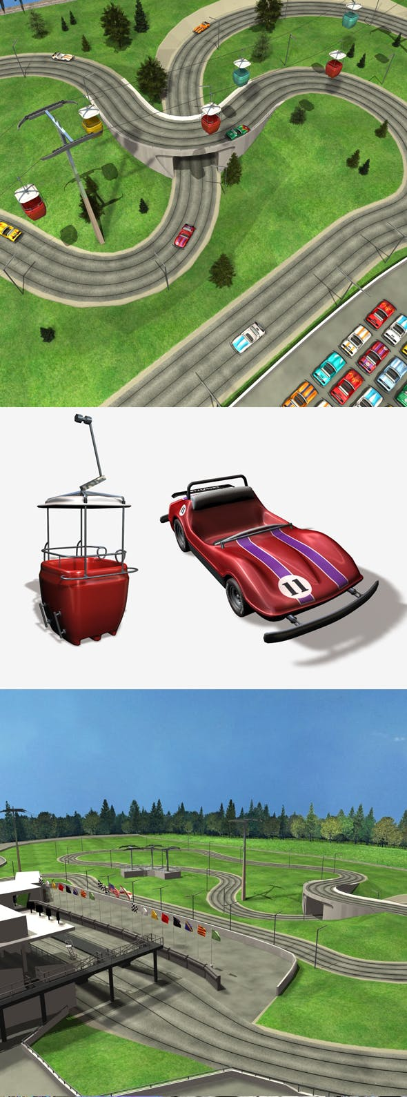 Speedway Model with Car and Sky Gondola - 3DOcean Item for Sale