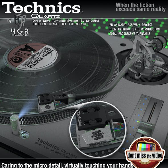 Turntable pro Technics SL1200MK5 Silver assembling animation