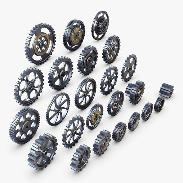 Gears Set Low Poly v 1 - 3DOcean Item for Sale