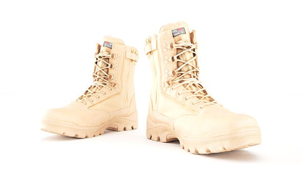 Military boots of color sand with PBR textures 15 - 3DOcean Item for Sale