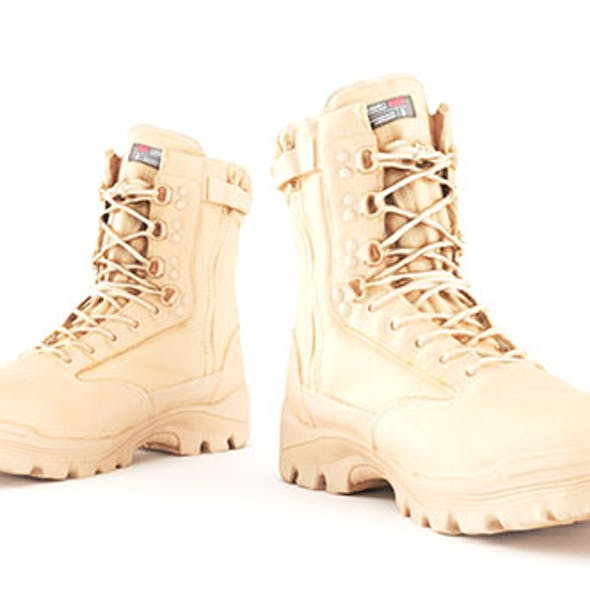 Military boots of color sand with PBR textures 15