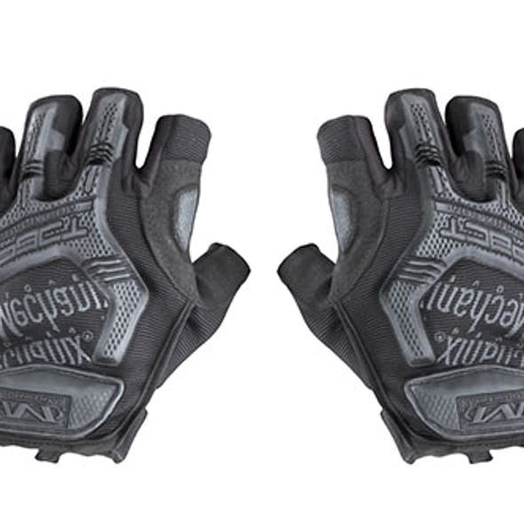 Military gloves half-finger of color black with PBR textures 17