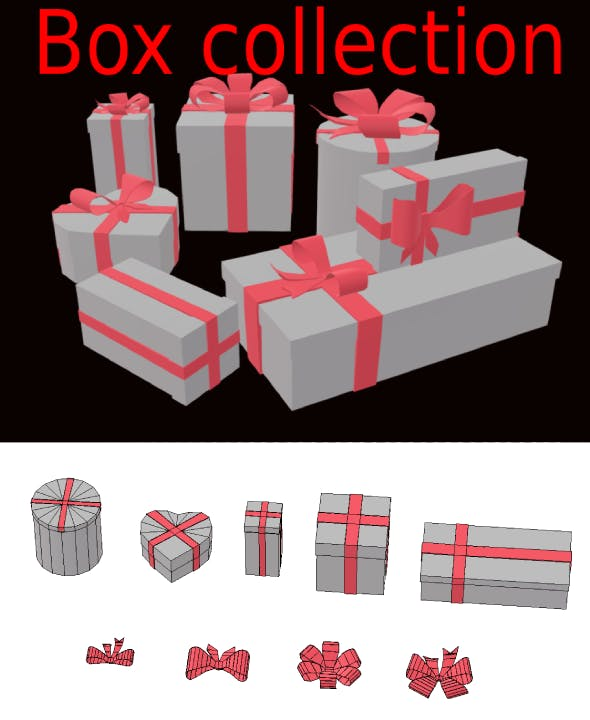 Christmas present collection box and bows 3d low-poly - 3DOcean Item for Sale
