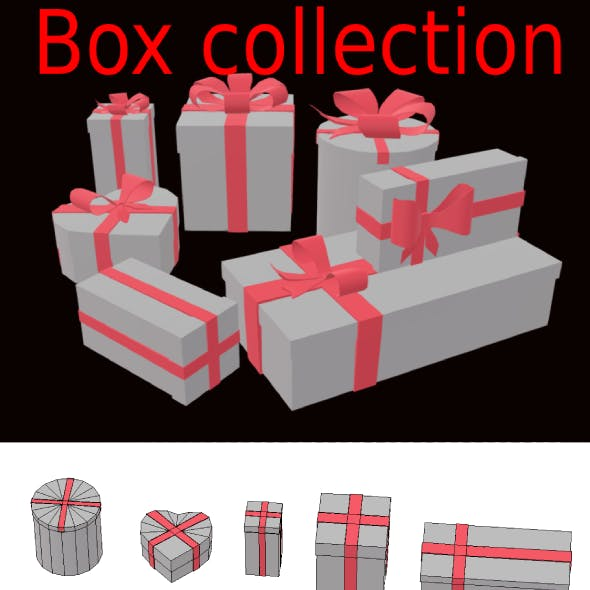 Christmas present collection box and bows 3d low-poly