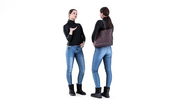 Woman casual style with a bag 82 - 3DOcean Item for Sale