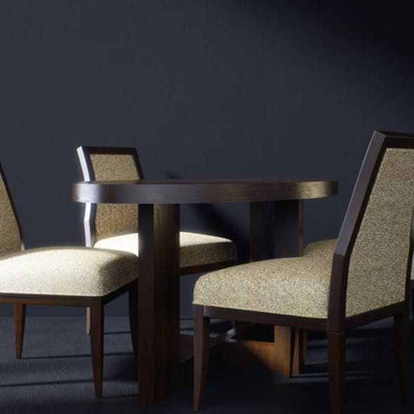 Realistic Table and Chairs Model with Materials