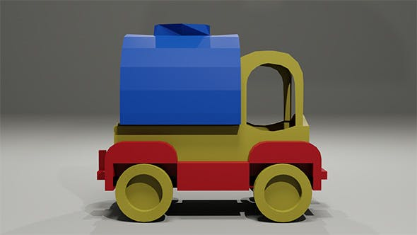Toy low-poly Car Milk tanker - 3DOcean Item for Sale