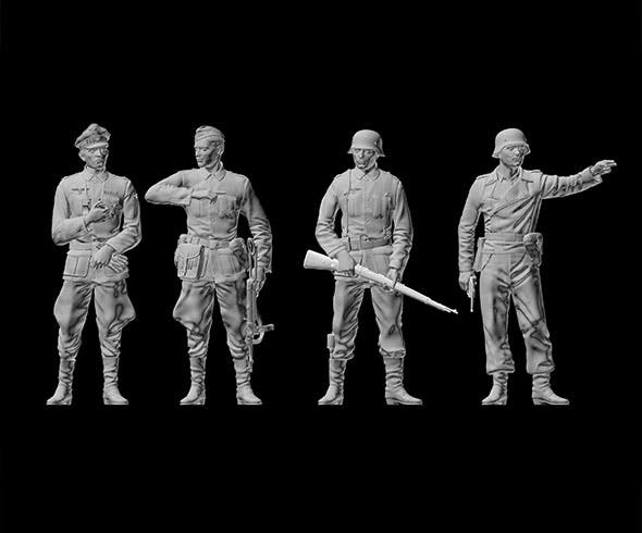 German soldiers and German officer - 3DOcean Item for Sale
