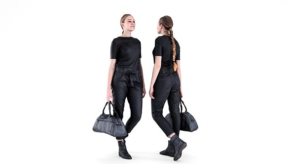 Woman street style with a travel bag 92 - 3DOcean Item for Sale