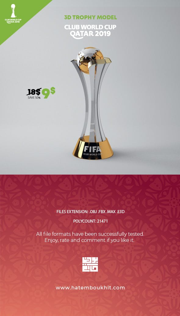 Club World Cup Trophy 3D Model - 3DOcean Item for Sale