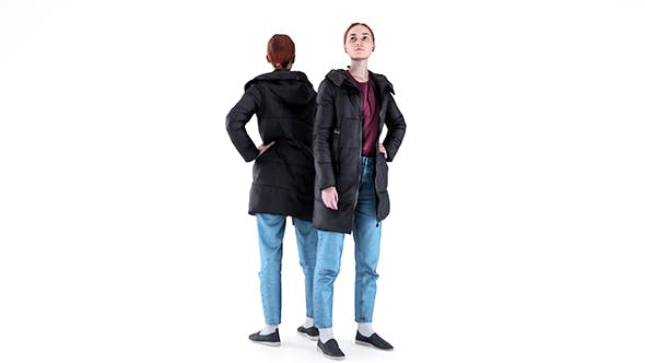 Woman in a black jacket 93 - 3DOcean Item for Sale