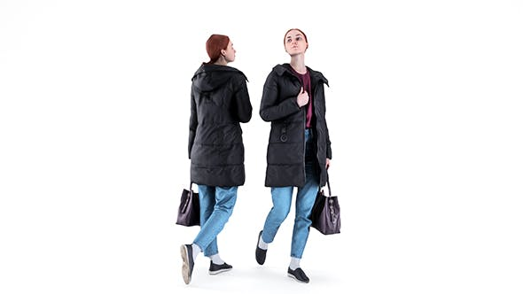 Woman in a black jacket with a bag 94 - 3DOcean Item for Sale