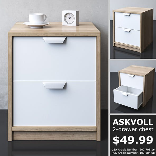 IKEA ASKVOLL 2-drawer chest - 3DOcean Item for Sale