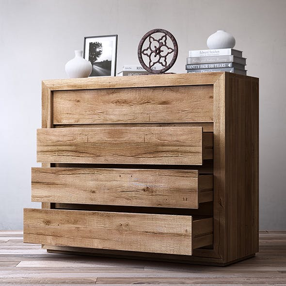 RECLAIMED RUSSIAN OAK 4-DRAWER DRESSER