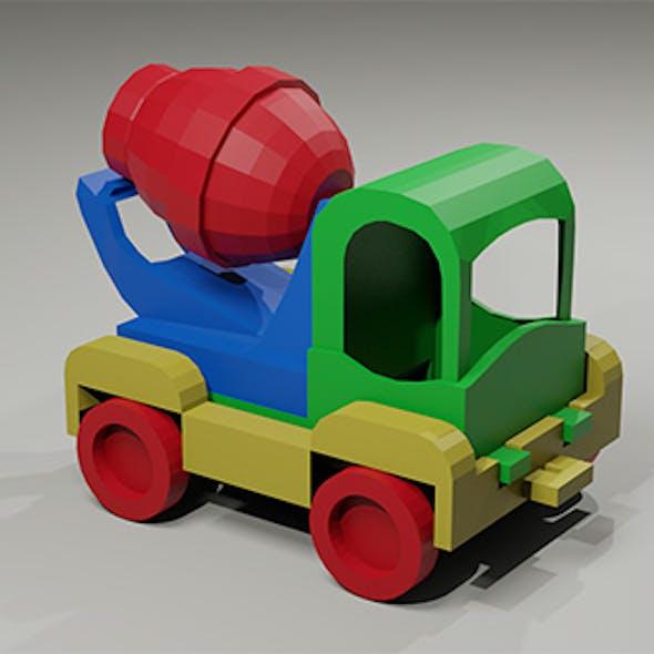 Toy low-poly Car Concrete Mixer