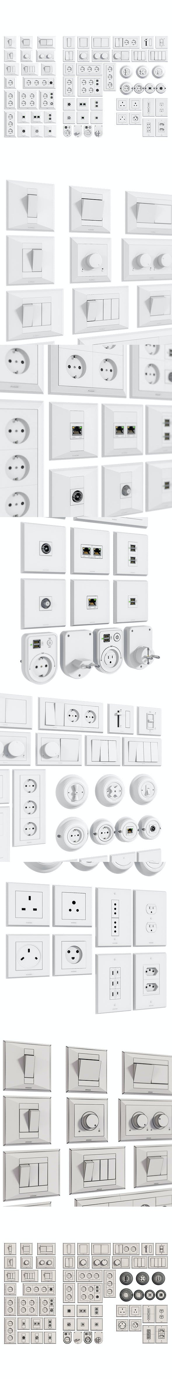 L3DV06G01 - electrical wall switches and sockets set - 3DOcean Item for Sale