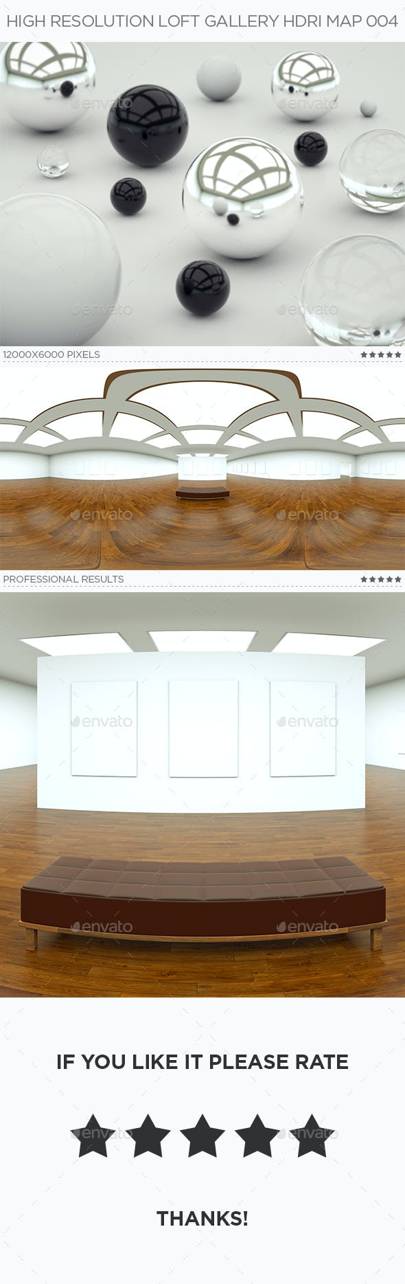 High Resolution Loft Gallery HDRi Map 004 - 3DOcean Item for Sale