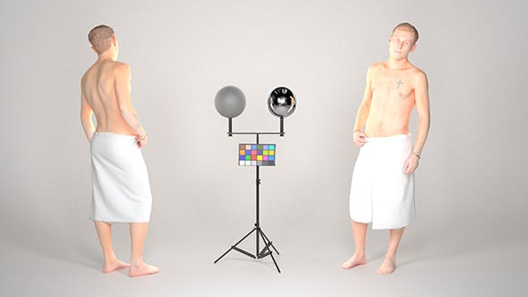 Handsome man wrapped in white towel 25 - 3DOcean Item for Sale