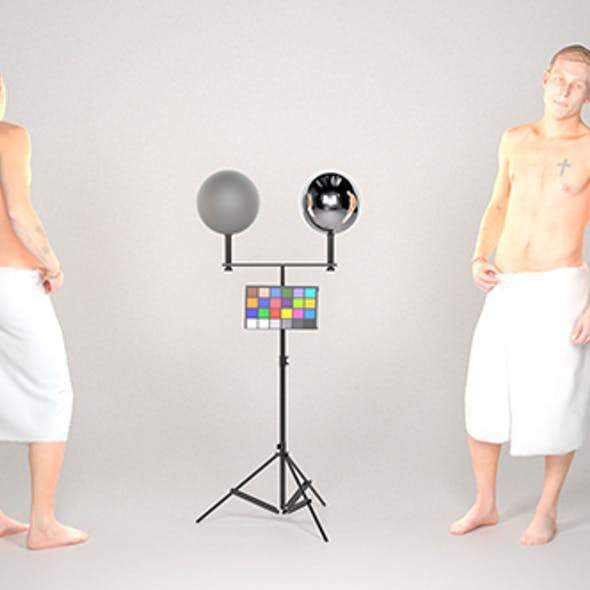 Handsome man wrapped in white towel 25