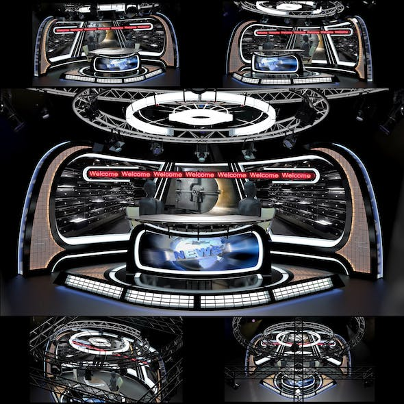 Virtual TV Studio News Set 34 - 3DOcean Item for Sale