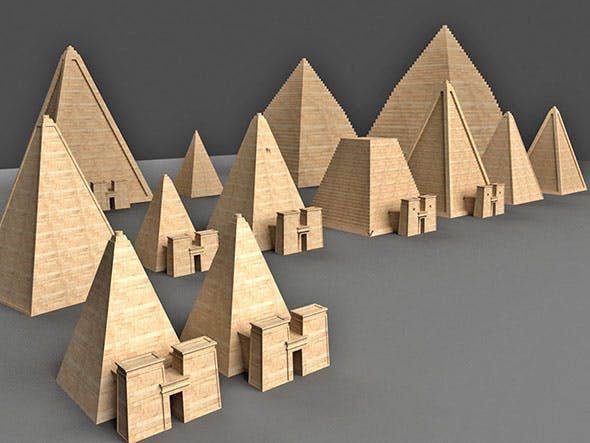 Nubian pyramids - 3DOcean Item for Sale