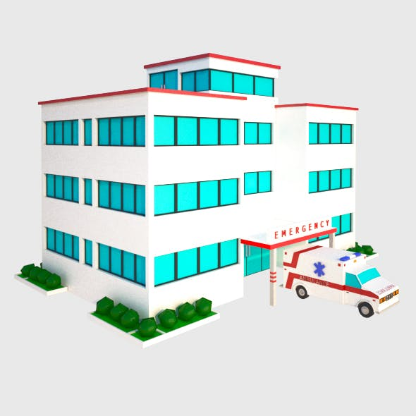 hospital and ambulance - 3DOcean Item for Sale