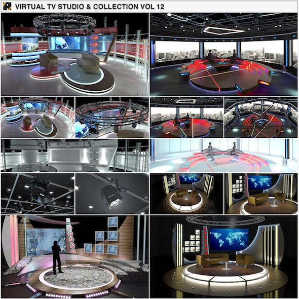 Virtual TV Studio Chat Sets Collection 12 - 3DOcean Item for Sale