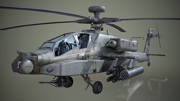AH-64D Apache Longbow Helicopter - Low Poly - 3DOcean Item for Sale
