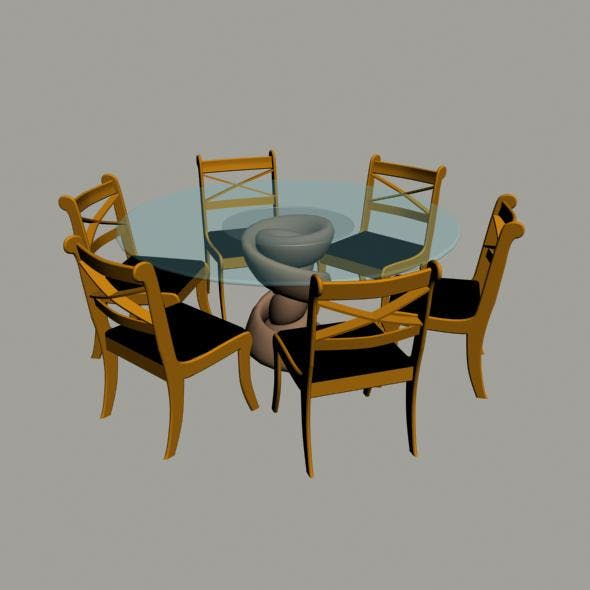Chairs with dinner table - 3DOcean Item for Sale