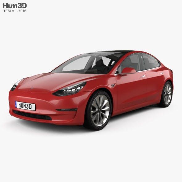 Tesla Model 3 with HQ interior 2018 - 3DOcean Item for Sale