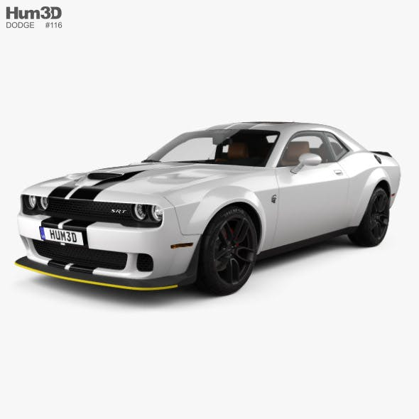 Dodge Challenger SRT Hellcat WideBody with HQ interior 2018 - 3DOcean Item for Sale