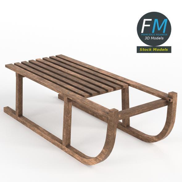 Vintage wooden sled - 3DOcean Item for Sale