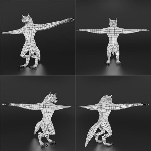 LowPoly WereWolf Base mesh - 3DOcean Item for Sale