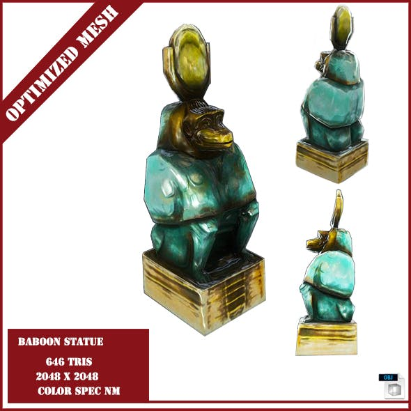 Baboon Statue - 3DOcean Item for Sale