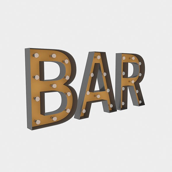 Bar Sign With Bulb - 3DOcean Item for Sale