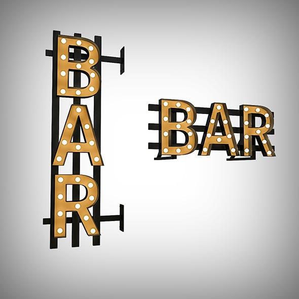 Bar Bulb Sign - 3DOcean Item for Sale