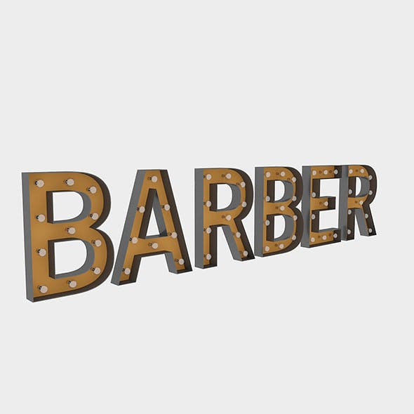 Barber Sign With Bulb - 3DOcean Item for Sale