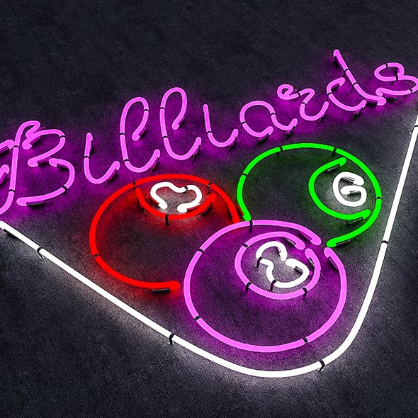 Neon Billiards Sign