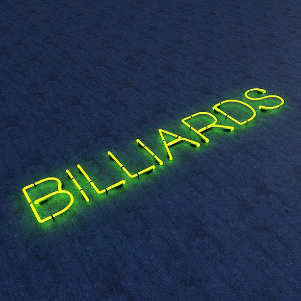 Bllards Neon Sign - 3DOcean Item for Sale