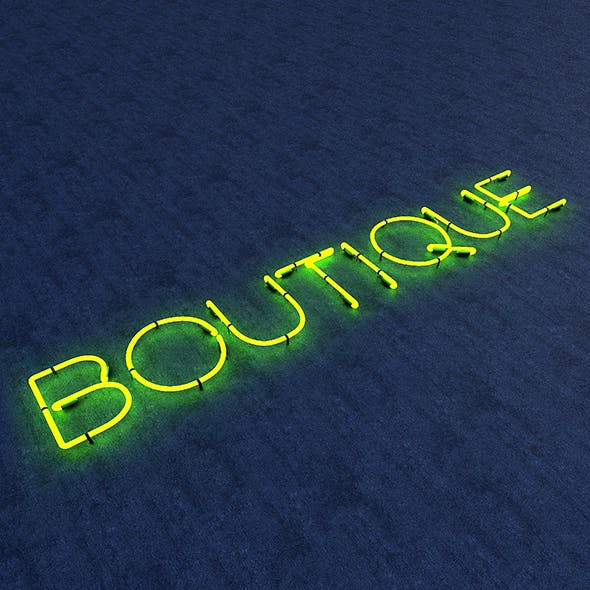 Boutuque Neon Sign - 3DOcean Item for Sale