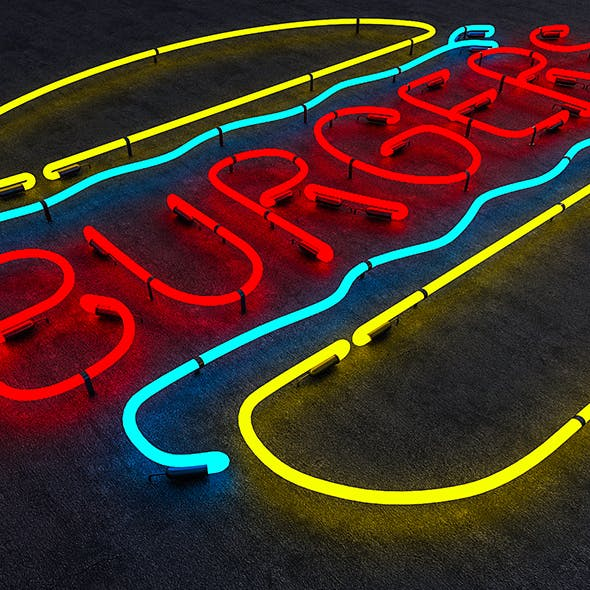 Burgers Neon Sign - 3DOcean Item for Sale