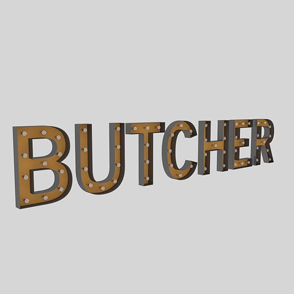 Butcher Sign With Bulb - 3DOcean Item for Sale