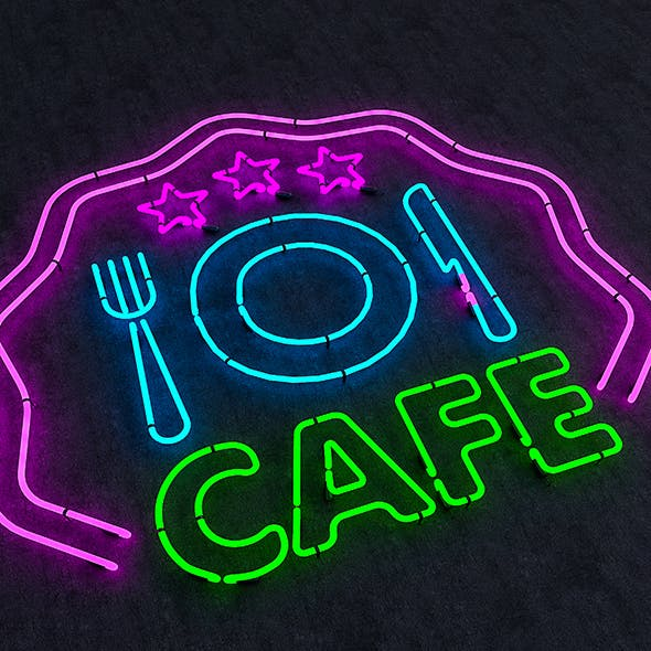 Cafe & Food Neon Sign - 3DOcean Item for Sale