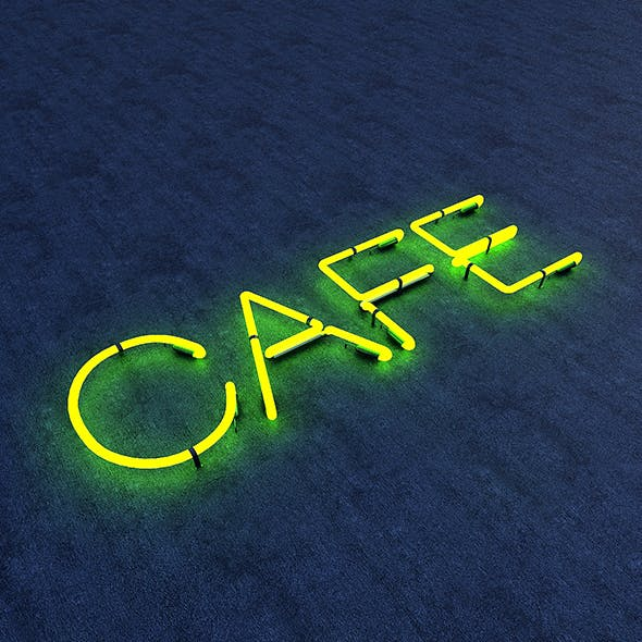 Cafe Neon Sign - 3DOcean Item for Sale