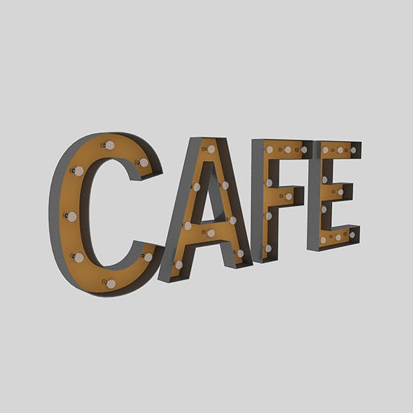 Cafe Sign With Bulb - 3DOcean Item for Sale